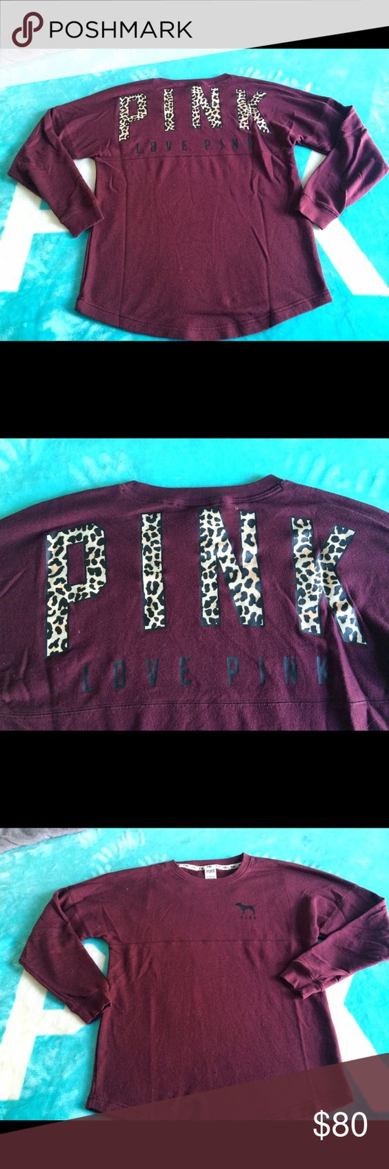 RARE HTF Cheetah Pink Maroon Crew Size S but oversized to fit a M, washed once but never wore, brand new condition price is firm!! NO LOWEST NO TRADES! CHEAPER ON Ⓜ️ercari!! PINK Victoria's Secret Sweaters Crew & Scoop Necks