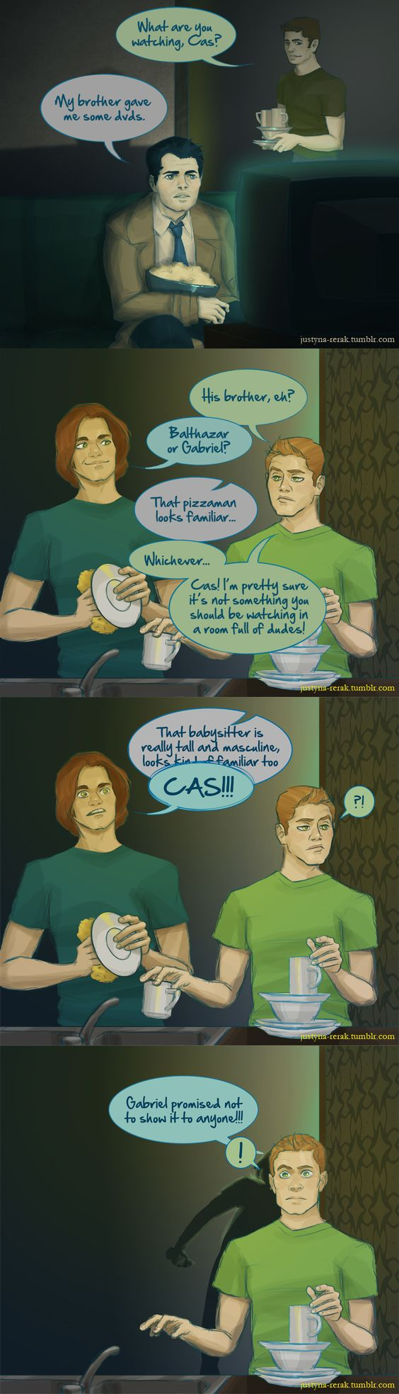 Borrowing dvds from Gabriel by ~Wind-up-Owl on deviantART <-- If the short pizza man loves the tall muscular babysitter, why is he spanking him? Has he been bad?