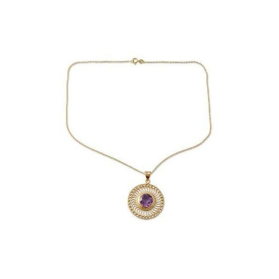 NOVICA Handcrafted Amethyst and 22k Gold Vermeil Pendant Necklace (1.448.020 IDR) ❤ liked on Polyvore featuring jewelry, necklaces, gold tone, pendant, gold tone jewelry, gold tone necklace, gold vermeil necklace, hand crafted jewelry and novica