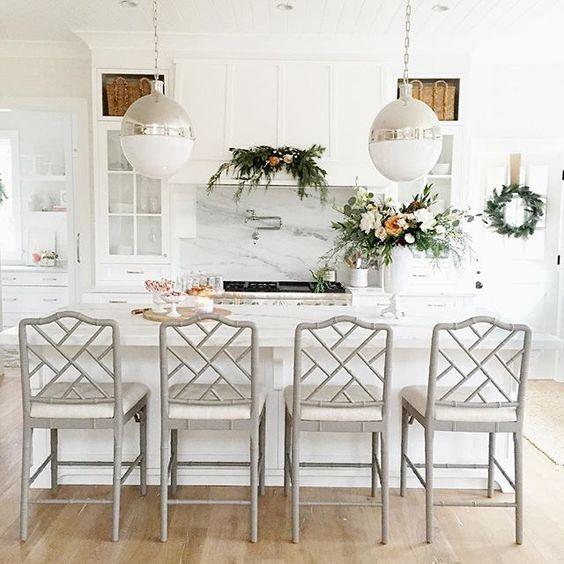 Monika Hibbs Kitchen Featuring Beautiful Gray Chippendale Chairs