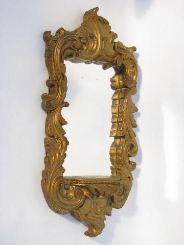 vintage ornate gold plaster wall niche mirror, florentine style mirrored shrine