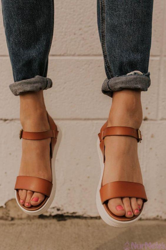 2020 Bayan Sandalet Modelleri Bayan Ayakkabi Sandalet Dolgu Topuk Sandaletler