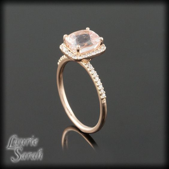 Dainty Cushion Cut Pink Sapphire and Diamond Ring in Rose Gold - LS1673. $4,573.26, via Etsy.: Diamond Engagement Rings, Color Dainty, Gold Engagement Rings, Diamond Rings, Rose Gold Engagement Ring, Dainty Cushion, Cushion Cut