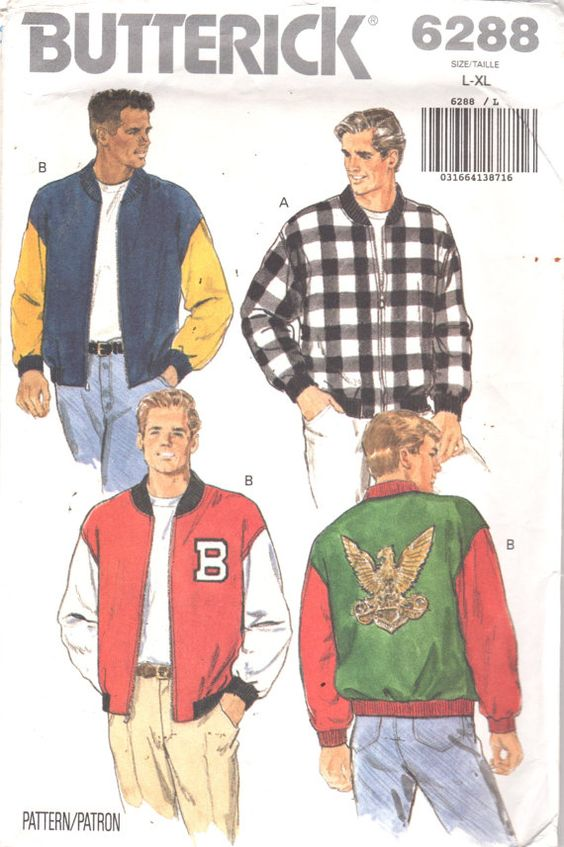 Butterick 6288 Mens Loose Fitting Bomber Jacket Pattern Adult ...