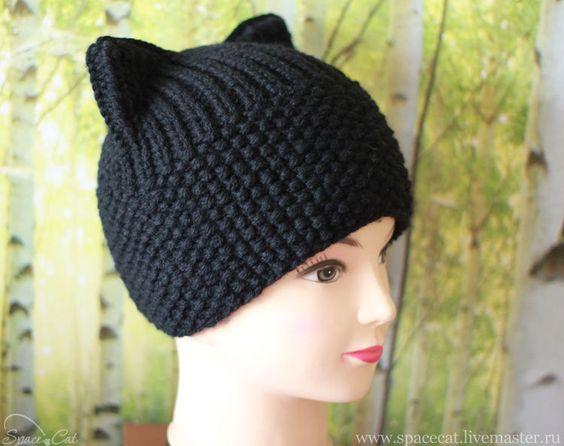 Вязание шапки с ушками кошки спицами