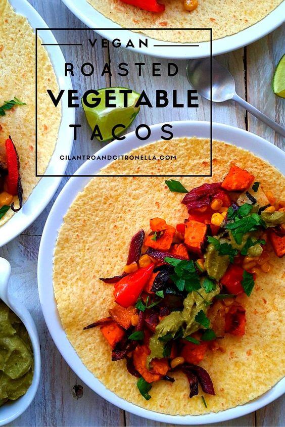 Easy vegan roasted veggie tacos with a smoky avocado cream sauce. A great way to use seasonal vegetables.