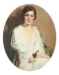 Jeune femme à la rose by Charles Joseph Watelet