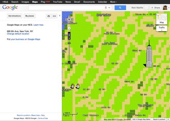Google Maps has gone 8-bit (april fools 2012)