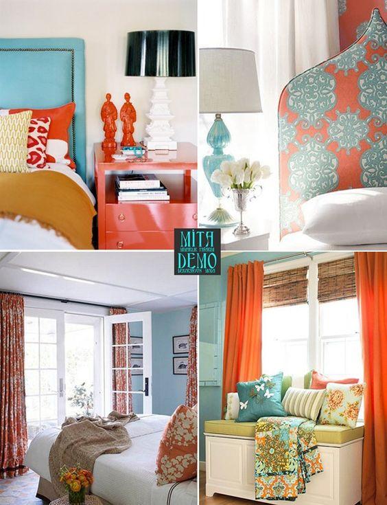 Renk Temalı Ev Dekorasyonlarında Turuncu-Turkuaz ve Mavi Birlikteliği
