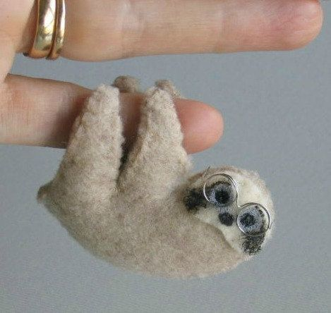 Sloth with glasses miniature felt plush stuffed by wishwithme on Etsy