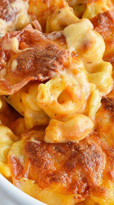 Cheese Tortellini Pepperoni Pizza Casserole:
