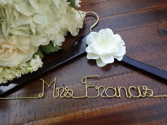 RUSH ORDER Wedding Dress Hanger Personalized by DeighanDesign, $48.00
