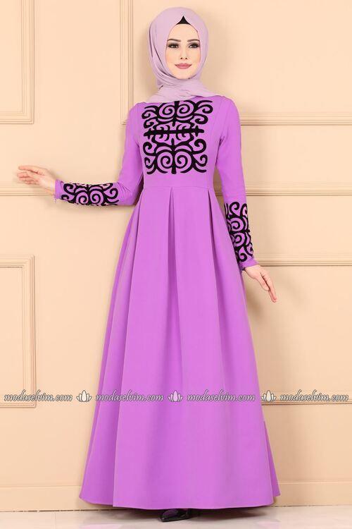 Modaselvim Elbise Flok Baskili Pileli Elbise Dnz583 Lila Formal Dresses Long Fashion Dresses