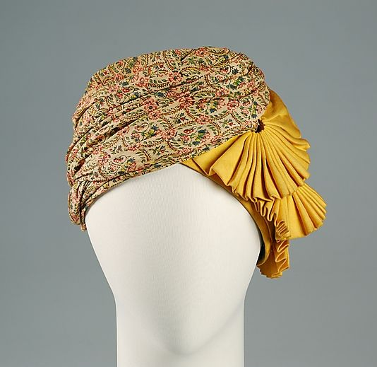 Hat (Turban)  Sally Victor  (American, 1905–1977)    Date:      1941  Culture:      American  Medium:      Cotton, silk  Credit Line:      Brooklyn Museum Costume Collection at The Metropolitan Museum of Art, Gift of the Brooklyn Museum, 2009; Gift of Sally Victor, Inc., 1944