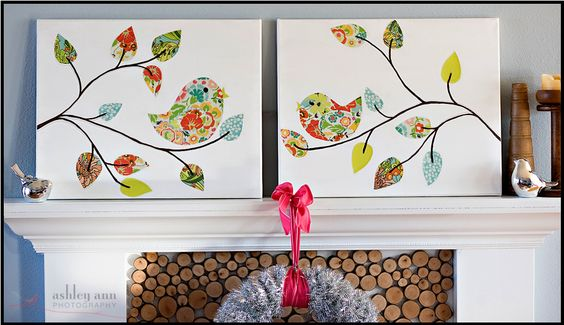 Bird Wall Art.  DIY project with patterened paper or fabric or both.