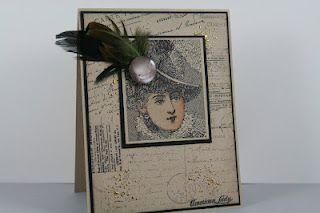 Melinda Gleissner captures the vintage essence of Plume Portrait in this terrific card!