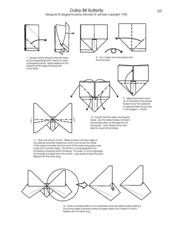 free folding diagram butterfly money origami part 2 of 3  : folding diagram - findchart.co