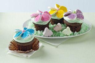 BAKER'S ONE BOWL Flower Garden Cupcakes recipe  #kraftrecipes
