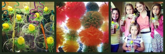 Spring party idea - chick ups and tissue decor