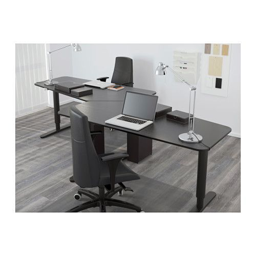 BEKANT 5 sided desk, sitstand, black brown, black black