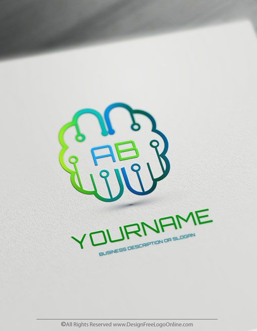 Create Your Own Logo Ideas Digital Brain Logo Design Brain Logo Computer Logo Logo Design