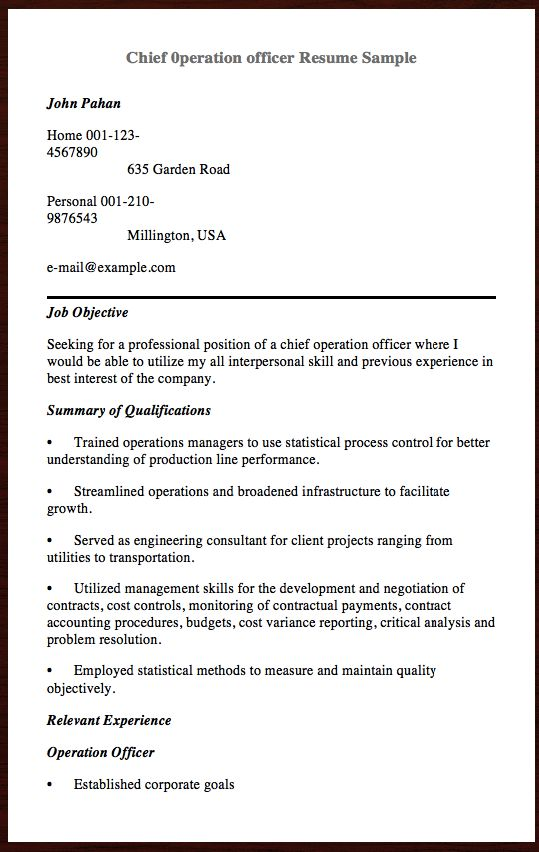 Here is the Chief 0peration officer Resume Sample, You can Preview - petroleum supply specialist sample resume
