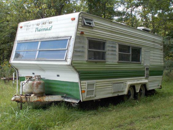 1974 vintage nomad travel trailer camper green green stripes and stripes. Black Bedroom Furniture Sets. Home Design Ideas