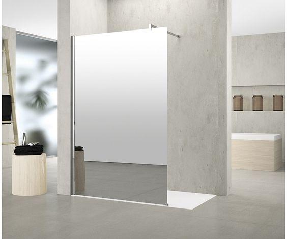6315112 Novellini  Novellini Kuadra H Frittstående fastfelt Med speil, krom/klart glass