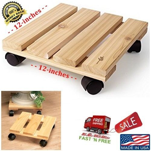 Details About Cedar Wood Rolling Stand Pot Moving Caddy