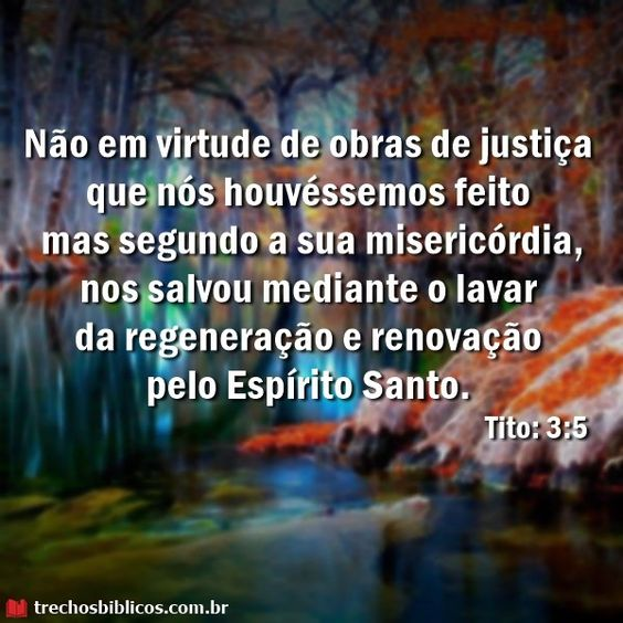Não pelas obras de justiça que houvéssemos feito, mas segundo a sua misericórdia, nos salvou pela lavagem da regeneração e da renovação do Espírito Santo, Tito 3:5