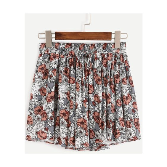 Draw Cord Waist Florals Shorts (470 UAH) ❤ liked on Polyvore featuring shorts, flower print shorts, floral print shorts, floral printed shorts, draw string shorts and drawstring shorts