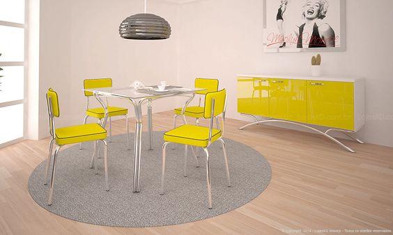 Conjunto para Sala de Jantar com Mesa Moscatel, 4 Cadeiras e Balcão Retrô Cromado/Amarelo/Branco - Pozza
