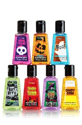 Anti-bacterial Sanitizing Hand Gel - Halloween bundle at Bath & Body Works. Includes Bat Bite (apple), Vampire Blood (plum), Witch (berry), Ghoul Friend (berry), Pumpkin (pumpkin), Ghost (marshmallow) and Candy Corn (candy corn) - the kids will love (and have clean hands).