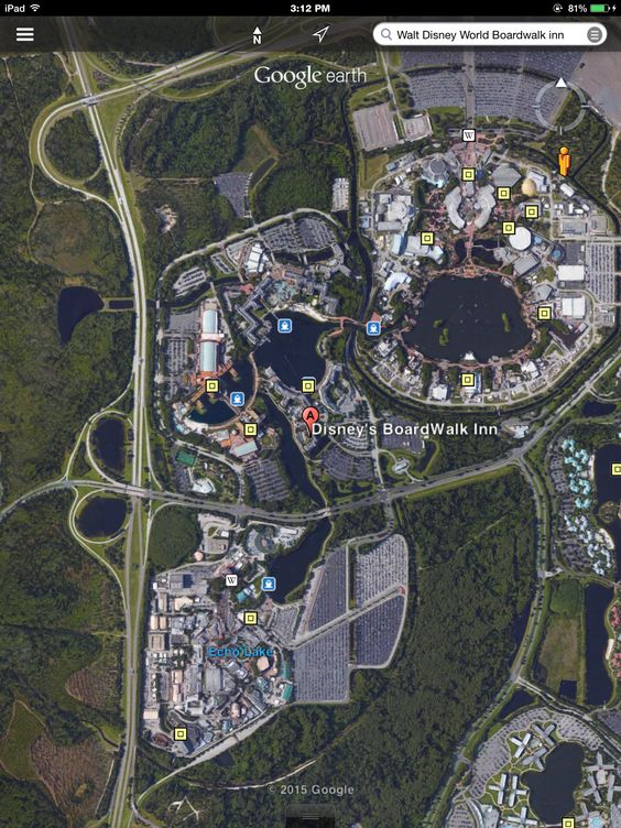 Google Earth App for iPad: Boardwalk Inn and Epcot You can walk between the two, so cool!