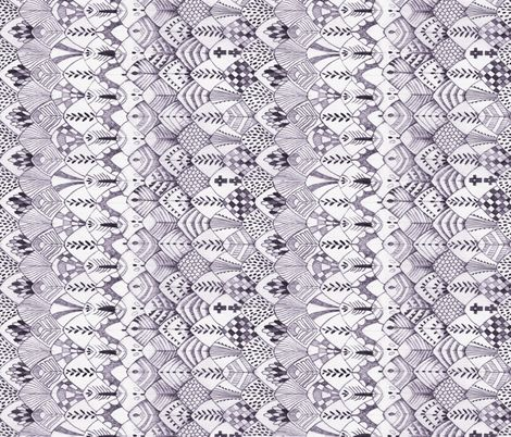 Tribal Owl Feathers, DARK, Horizontal fabric by thistleandfox on Spoonflower - custom fabric