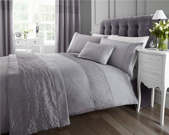 Details about Sequin quilt cover duvet sets - matching curtains ...