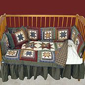 Cottage Star Green and Red Country Patchwork 6 Piece Crib Set