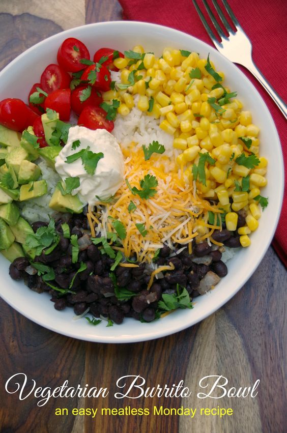 This Vegetarian Burrito Bowl Recipe took less than 30 minutes and is an easy Meatless Monday recipe!