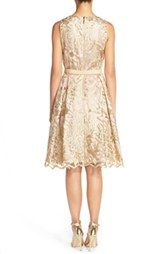Eliza J Belted Embroidered Charmeuse Fit & Flare Dress