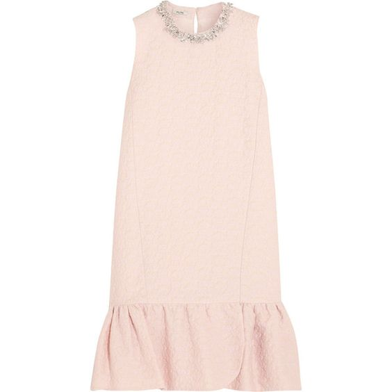 Miu Miu Embellished cotton-blend jacquard mini dress featuring polyvore, fashion, clothing, dresses, floral print dress, keyhole dress, pale pink dress, pink mini dress and pastel floral dress