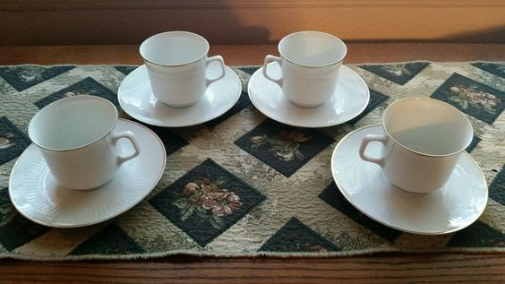 4 -Bareuther Waldsassen Bavaria Germany Flat Cup and Saucer Sets  *Exc*  BTH 66