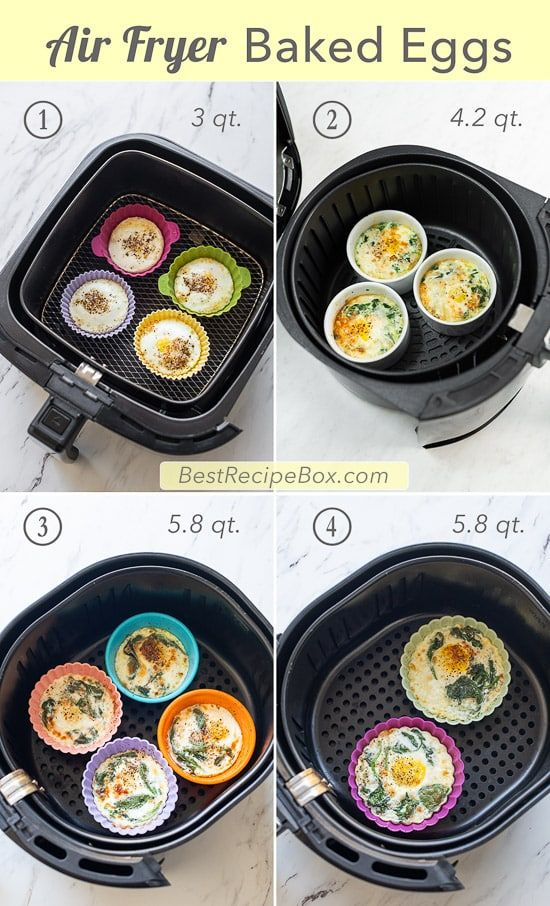 Air Fryer Baked Egg Cups W Spinach Cheese Recipe Air Fryer