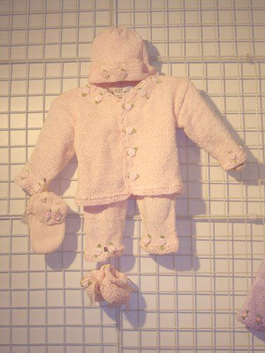 Cpk81, Knitted On Hand Knitting Machine Baby Pink Chenille Finished By Hand Crochet Infant Girls Cardigan, Pant, Hat Set Trimmed With Satin Rosebuds And Matching Mitten And Booties