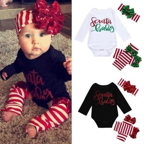 Christmas girls baby dress long-sleeved dress hair band