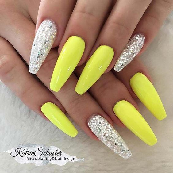 Neon Yellow and Silver Glitter Coffin Nails #neonnails #coffinnails #summernails #acrylicnail