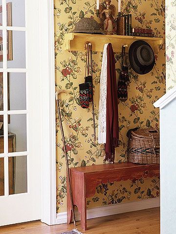 Wallpaper Cottage is one of the few styles that are perfectly at home with wallpaper. Florals, ticking stripes, and tiny geometrics are just a few good possibilities