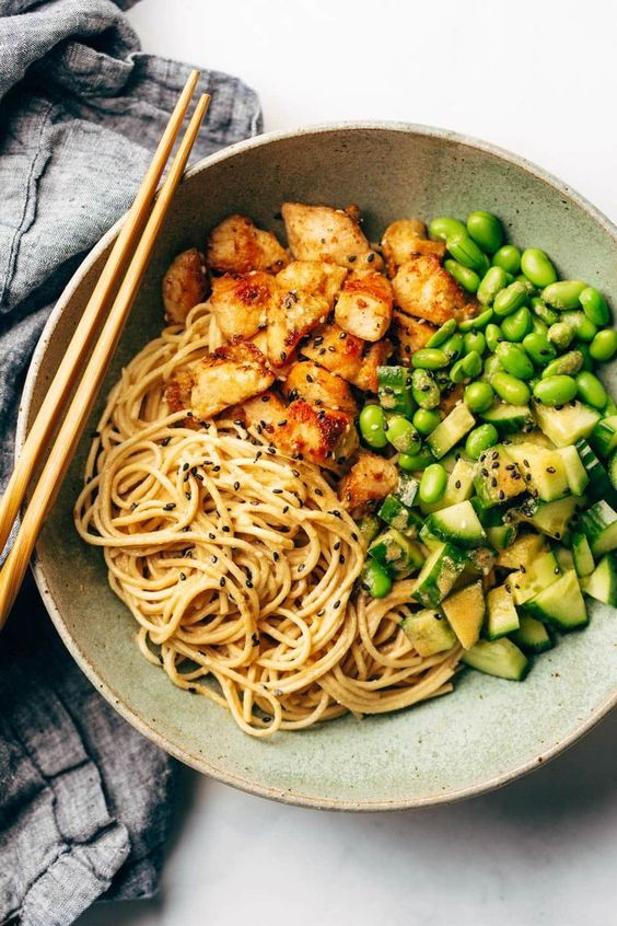 The easiest 15 Minute Meal Prep: Sesame Noodle Bowls! Crispy tofu, saucy noodles and all the veggies. #vegetarian #mealprep #easyrecipe #healthyrecipe #easydinner | pinchofyum.com