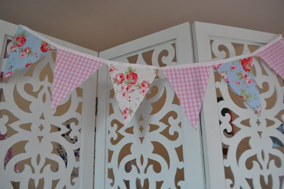 Pink gingham and floral rose bunting by linzilush on Etsy, £10.00