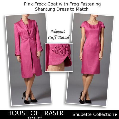 Pink Wedding Coat with Frog Fastening Long Line Jacket & Dress
