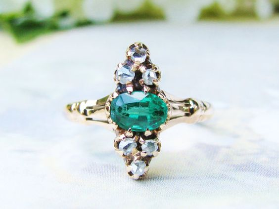 Hey, I found this really awesome Etsy listing at https://www.etsy.com/listing/197600223/antique-engagement-ring-emerald-green